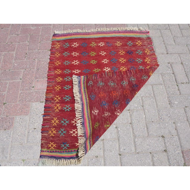 Vintage Turkish Kilim Rug - 3′ × 3′8″ - Image 8 of 8