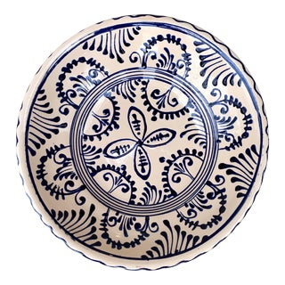 Hand Painted Blush & Navy Glazed Terra Cotta Decorative Bowl For Sale