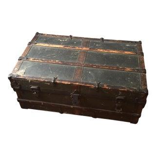 Antique Wooden Metal War Trunk For Sale