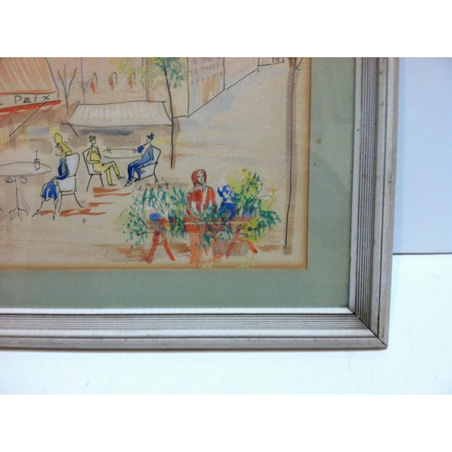"1950s Vintage ""Cafe De La Paix"" Framed & Matted Hand-Colored Drawing For Sale - Image 4 of 7"