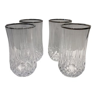 Vintage Leaded Crystal Silver Rim Water Glasses - Set of 4 For Sale
