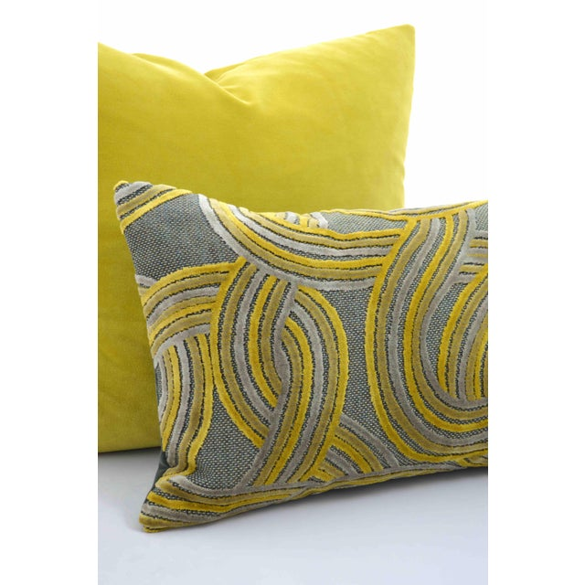 Art Deco FirmaMenta Italian Geometric Green & Yellow Velvet Lumbar Pillow For Sale - Image 3 of 6