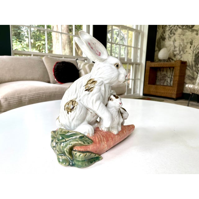 Vintage Provencal Ceramic Bunny Statue For Sale - Image 9 of 13