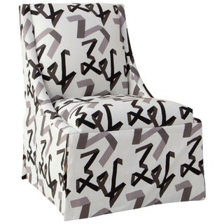 Skirted Accent Chair in Black Ribbon by Angela Chrusciaki Blehm for Chairish For Sale