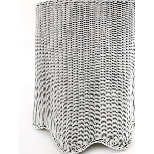 1970s Trompe l'Oeil White Draped Wicker Ghost Pedestal Entryway Side Table For Sale - Image 5 of 6