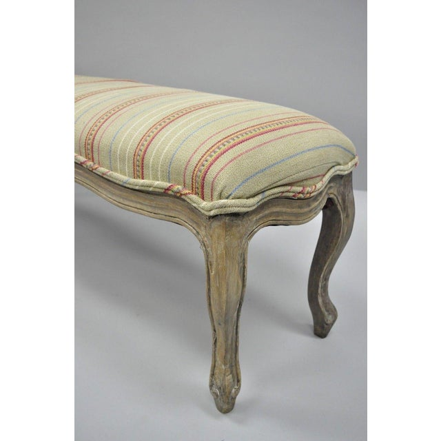 Blue French Country Louis XV Style Long Wooden Upholstered Bench For Sale - Image 8 of 10