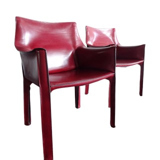 Vintage Cab Chairs by Bellini Red Leather - a Pair For Sale