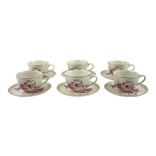 1940's Peach Blossoms Bolero China Teacups & Saucers - Set of 6