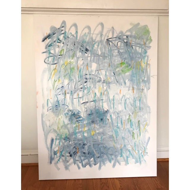 "Abstract Sarah Trundle Contemporary Abstract Painting, ""Across the Pond"" For Sale - Image 3 of 6"