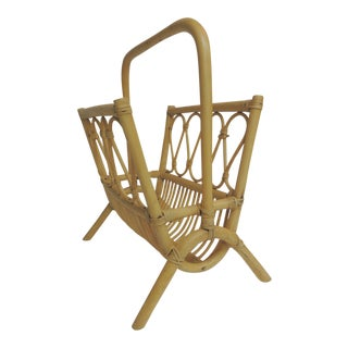 Vintage Bamboo and Rattan Magazine Stand For Sale