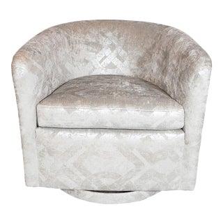 Milo Baughman Swivel Chair in Embossed Pearl and Metallic Platinum Velvet For Sale