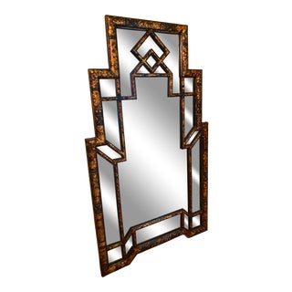 """Art Deco Style """"Tortoise Shell"""" Lacquer Wall Mirror For Sale"""