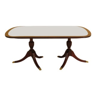 Henkel Harris Model #2207 Banded Mahogany Dining Room Table For Sale