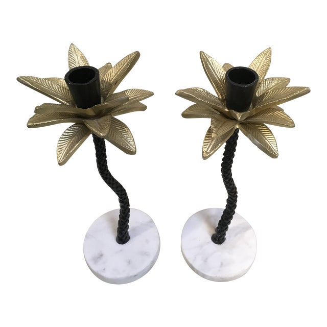 Palm Tree Candle Holders - a Pair For Sale