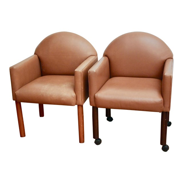 Postmodern Leather Chairs, Set of 2 For Sale