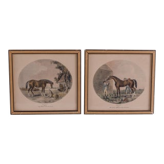 1950s Vintage Framed English Horse Prints - A Pair For Sale