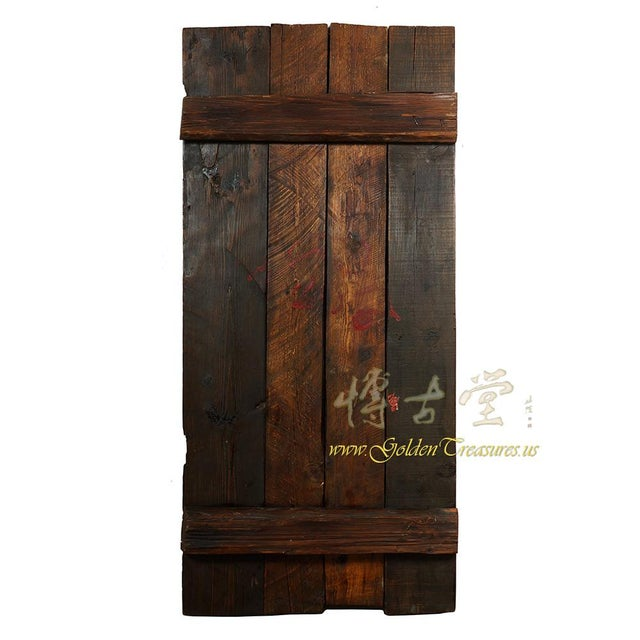 Orange Antique Tibetan Painted Door Panel For Sale - Image 8 of 9
