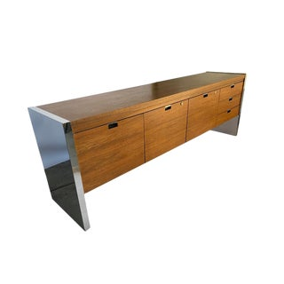 Roger Sprunger for Dunbar Office Credenza - Chrome and Wood For Sale