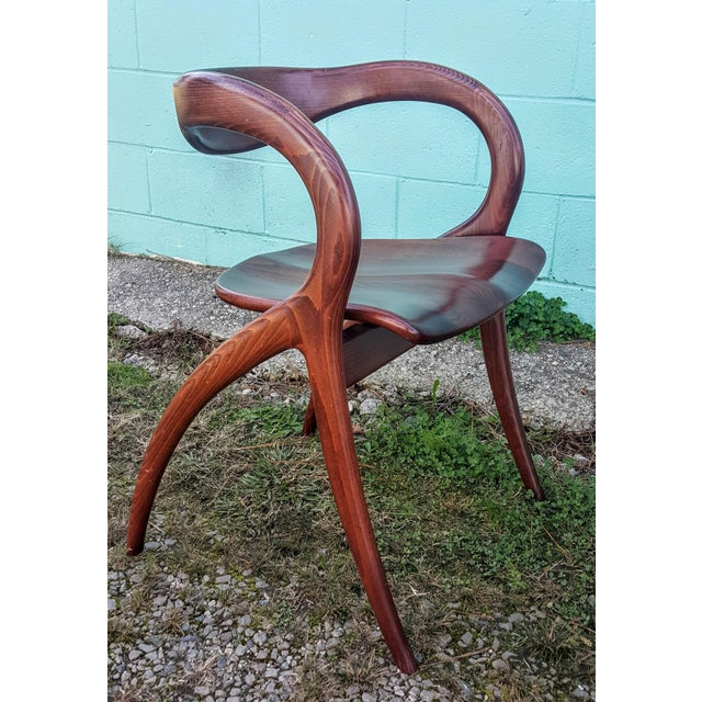 Vintage Solid Curved Cherry Wood Dining Chairs - Set of 6 - Image 5 of 9