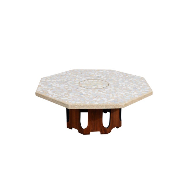 1960s Mid Century Modern Harvey Probber Terrazzo and Walnut Hexagon Cocktail Table For Sale