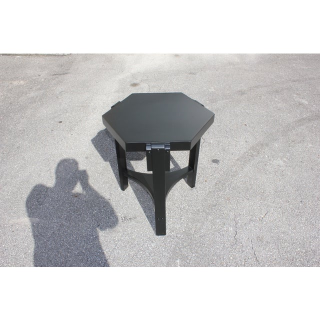 1940s French Art Deco Black Ebonized Coffee Table For Sale - Image 4 of 13