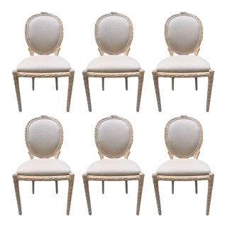 Set of Six Cerused Balloon Back Dining Chairs For Sale