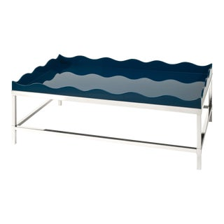 Rita Konig Collection Belles Rives Coffee Table Nickel in Marine Blue For Sale