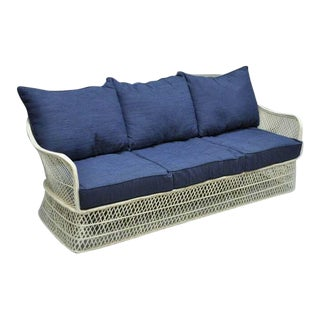 Russell Woodard Woven Spun Fiberglass Sculptural Sofa Sun Room Patio Furniture For Sale