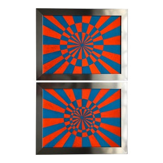 1970s Geometric Op Art Acrylic Paintings, Framed - a Pair For Sale