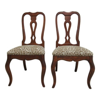 Ethan Allen French Country Carved Dining Room Side Chairs - a Pair For Sale