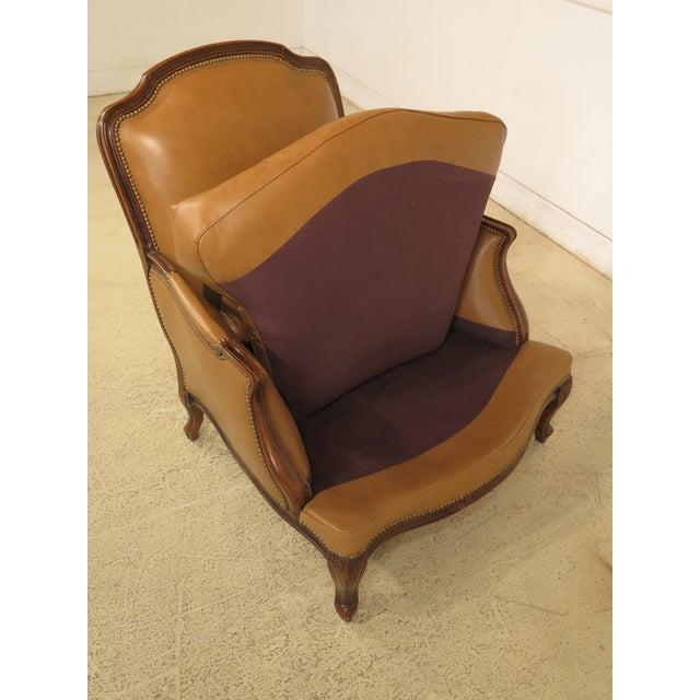 French Louis XV Style Leather Lounge Chair & Ottoman - A Pair - Image 10 of 13