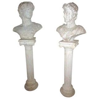Greek God Garden Busts on Ionic Column Pedestals-a Pair For Sale