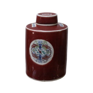 Chinese Oriental Ox Blood Red Color Phoenix Ceramic Container Jar For Sale