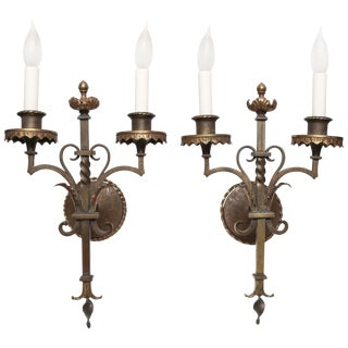 Pair of Mizner Era Sconces For Sale