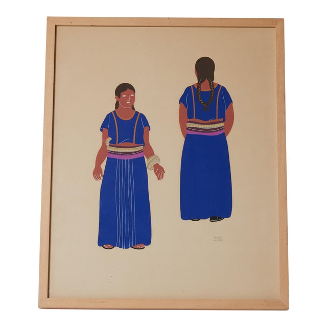 1940s 1940s Mexican Framed Costume Silk Screen by Carlos Merida For Sale - Image 5 of 5