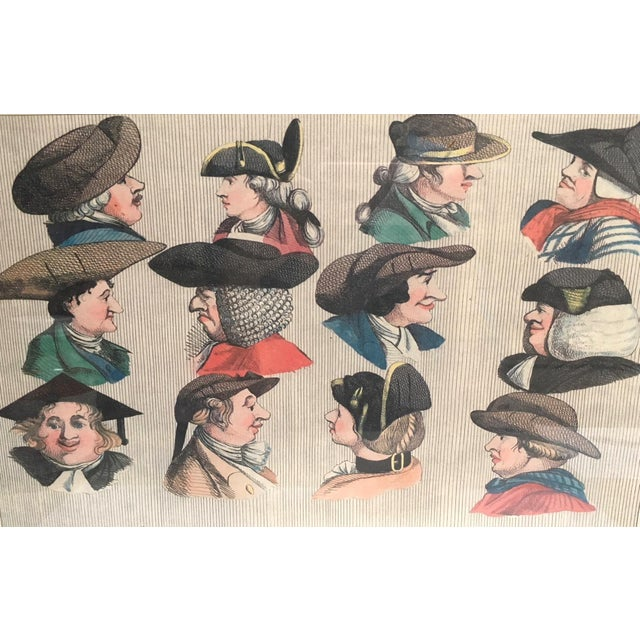 "French ""Hats"" 1773 Men's Fashion Print For Sale - Image 3 of 4"