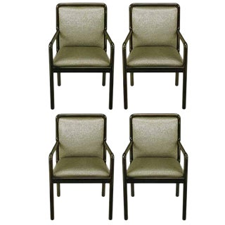 Four Martin Brattrud Ebonized and Upholstered Armchairs For Sale