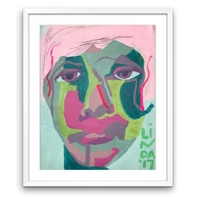 """Green Contemporary Abstract Portrait Painting """"It Goes by Fast"""" - Framed For Sale - Image 8 of 8"""