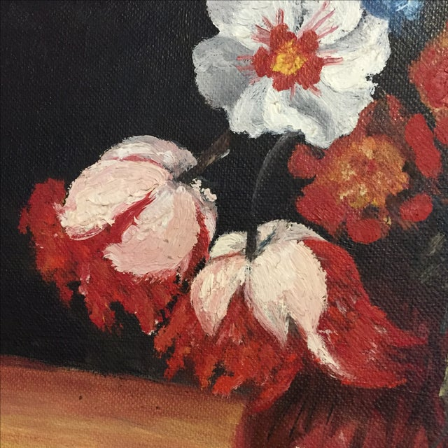 Vintage Floral Still Life Oil Painting - Image 8 of 10