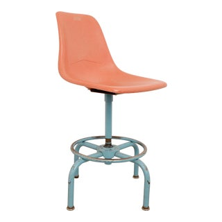 Vintage Mid Century Modern Fiberglass Bar Stool For Sale