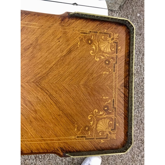 Brown Antique Inlaid Glass Top French Coffee Table For Sale - Image 8 of 13