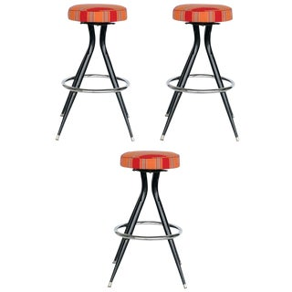 Black Steel Swivel Bar Stools, Set of Three For Sale