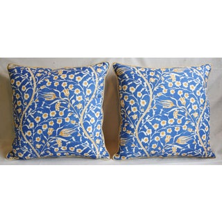 """Clarence House Floral Fabric Feather/Down Pillows 24"""" Square - Pair Preview"""