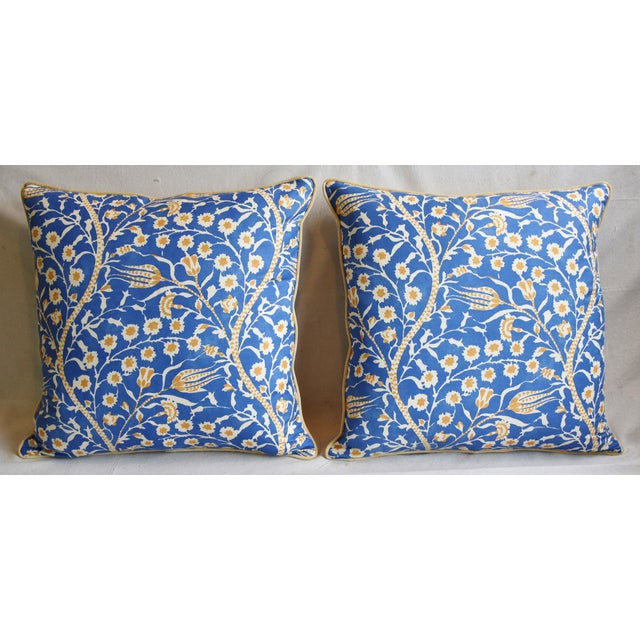 """Pair of custom-tailored pillows in Clarence House linen blended fabric called """"Tree of Life Cannanore."""" New gold colored..."""