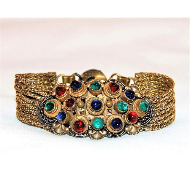 1930 Czech Jewel Toned Glass Cabochon Multi Chain Bracelet For Sale In Los Angeles - Image 6 of 6