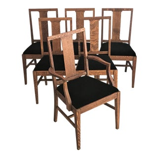 19th Century Mission Arts & Crafts Dining Chairs - Set of 6 For Sale