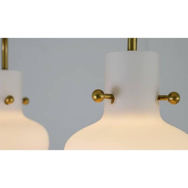 Three shaded Hans Bergstrom flushmount chandelier for Lyktan, Sweden, 1940s For Sale - Image 6 of 6