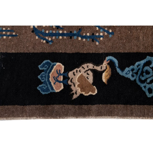 Early 20th Century Antique Art Deco Chinese Piking Wool Rug For Sale - Image 10 of 13