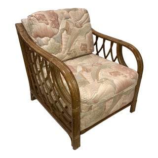 Vintage Lane Rattan and Upholstered Club Chair For Sale