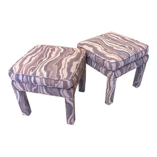 Mid 20th Century Milo Baughman Style Stools/ Benches/ Footstools - a Pair For Sale